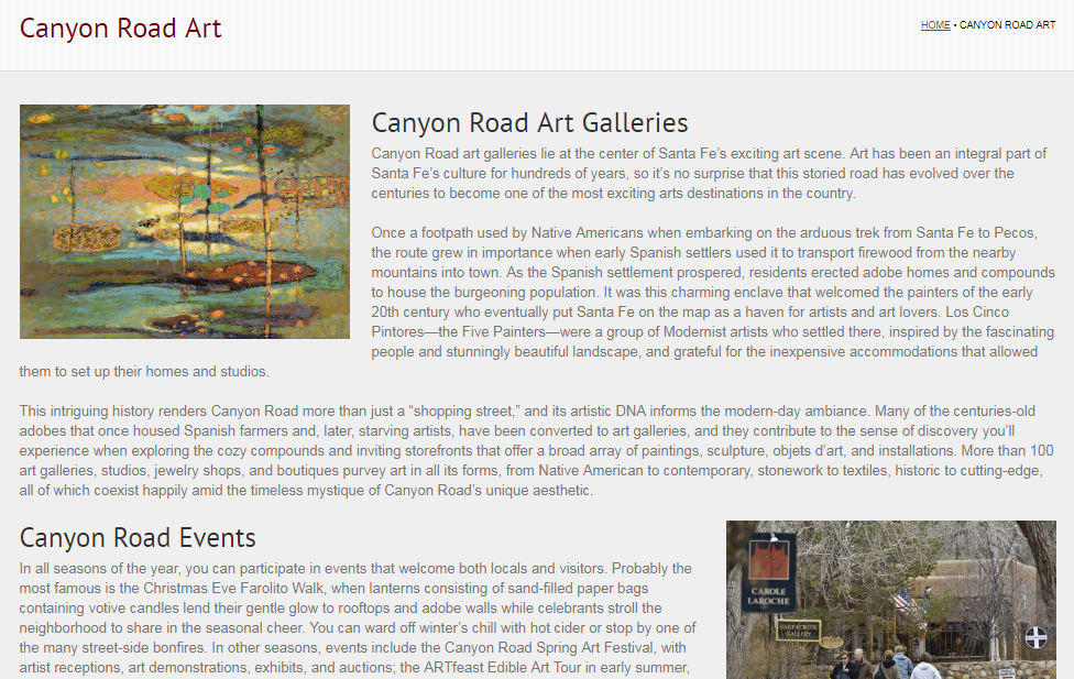 Canyon Road Landing Page