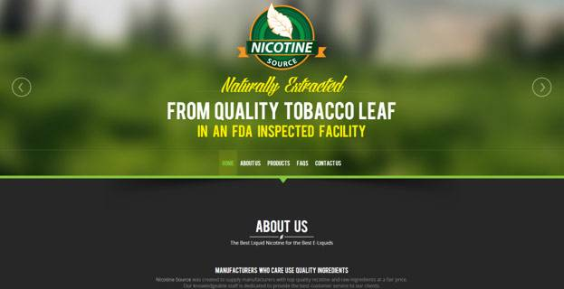 Nicotine Source single page website developed by Xynergy