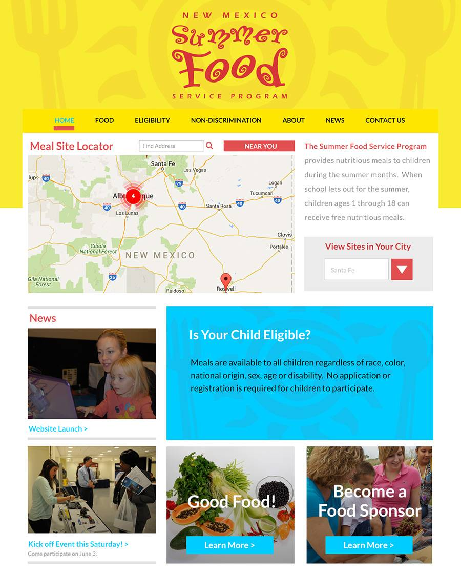 NM Summer Food Program App Home Page