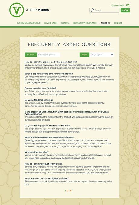 Vitality Works searchable FAQ