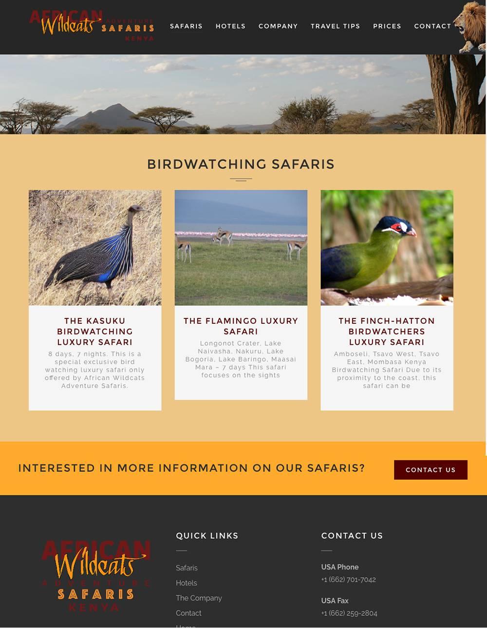 Safari Detail Page